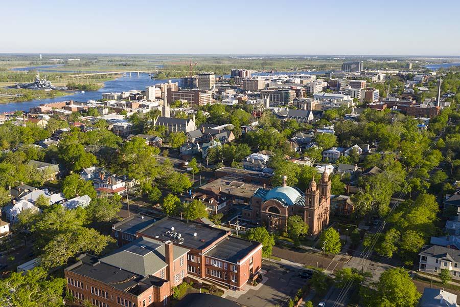 Wilkesboro NC - Aerial View Downtown In The Springtime In Wilkesboro North Carolina